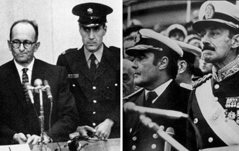 Eichmann durante el desarrollo del juicio en Jerusalén. Massera y Videla.