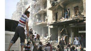 Una imagen de un barrio de la ciudad siria de Alepo después de un ataque aéreo del régimen de Assad.