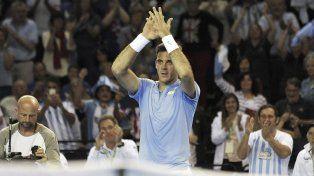 El tandilense Juan Martín Del Potro festejó emocionado el triunfo ante Andy Murray por Copa Davis.