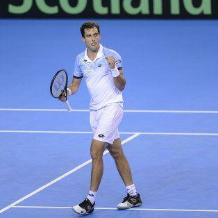 Guido Pella festeja uno de los puntos ante Edmund. El tenista de Bahía Blanca se quedó con un triunfo notable.