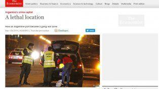 La portada de The Economist hablando sobre Rosario y su estrecha relación con el narcotráfico.