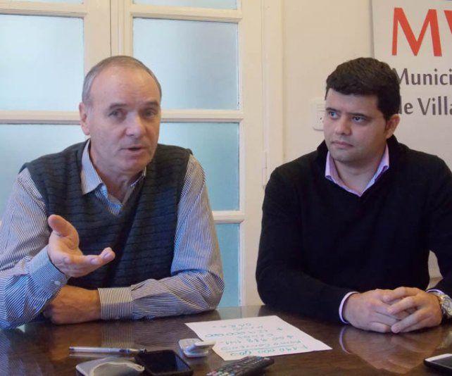 Inclusión. El intendente Gizzi y el titular del Concejo Rossi plantean el pedido.