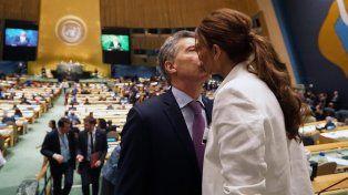 Juliana Awada le dio aliento al presidente Mauricio Macri antes de hablar en la Asamblea General de la ONU.