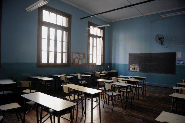 Aula vacía por el paro de los docentes.