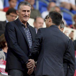 ¿Sigue cordial? Bauza dialogó con el titular del club, Bartomeu, en su visita de agosto.