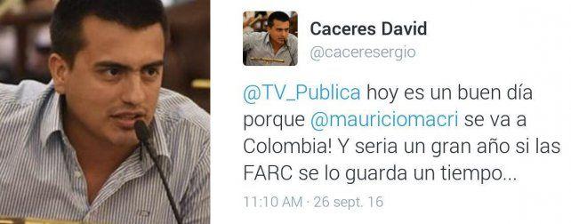 Un concejal de Paraná pidió en Twitter que las Farc secuestren a Mauricio Macri