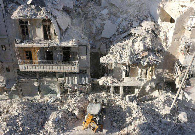 Ruinas. Edificios de departamentos en Alepo luego de un bombardeo.