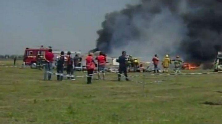 El simulacro se realizó en un terreno sobre la Avenida Fuerza Aérea en Funes.