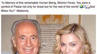 Madonna rindió homenaje a Shimon Peres con una bandera argentina