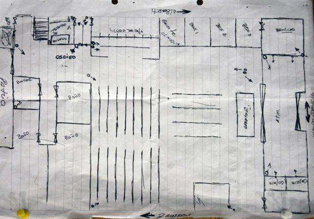 La prueba. El mapa de una sucursal del Banco Francés que la policía halló en la casa del acusado