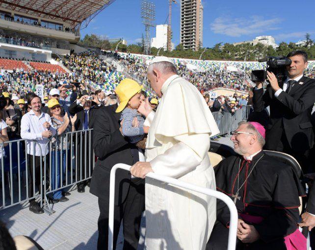 Recibimiento. El Pontífice ayer