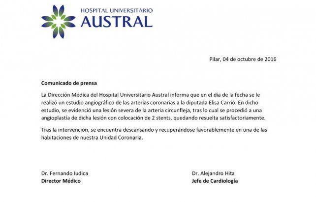 Elisa Carrió fue sometida a una angioplastía de urgencia y le colocaron dos stents
