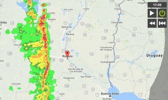 La imagen satelital del avance de la tormenta sobre nuestra ciudad.