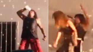 Los videos de La Mona en pleno show fueron difundidos en las redes.