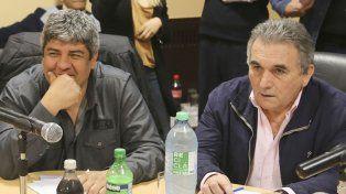 Lapidario. Pablo Moyano (izquierda) junto al secretario general de la CGT
