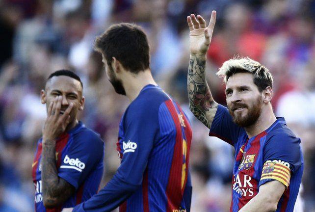 Con todo. Messi celebra su gol