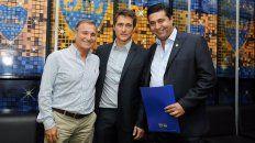 Royco Ferrari (izquierda), junto a Guillermo Barros Schelotto y Daniel Angelici.