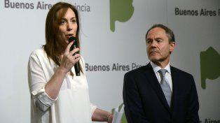 La gobernadora bonaerense María Eugenia Vidal, brindó una conferencia de prensa junto al ministro de Justicia, Gustavo Ferrari.
