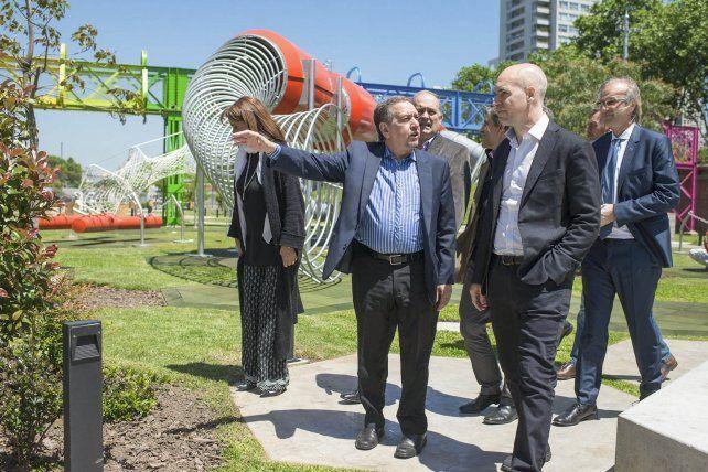 Plaza de la Ciencia. Barañao inauguró ayer con Rodríguez Larreta un espacio público vinculado con su área.