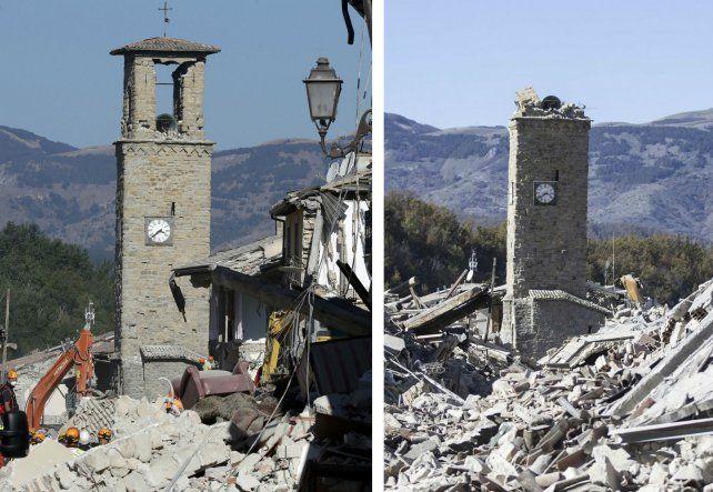 Ates y ahora. Así quedó la torre de la Iglesia de Amatrice tras los dos sismos del miércoles y con el de ayer.
