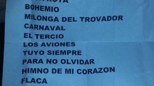 La lista de temas del show de Rosario.