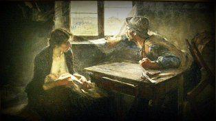 Sin pan y sin trabajo. La reconocida pintura de Ernesto de la Cárcova.