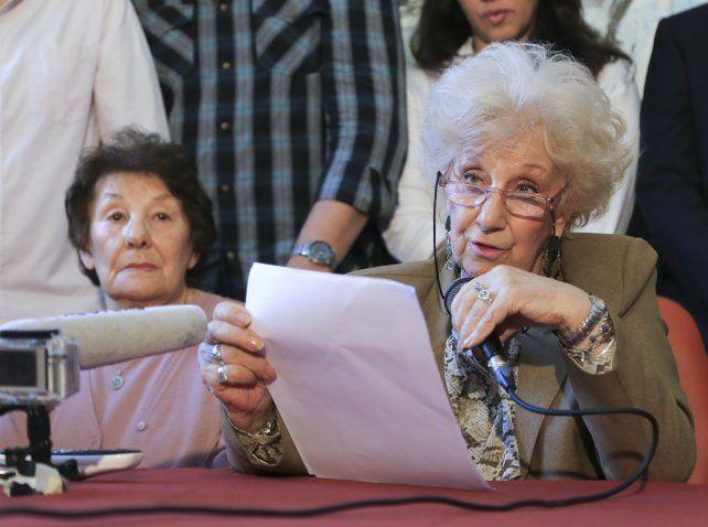 Réplica. Carlotto dijo que hay una campaña para desmerecer la tarea de Abuelas de Plaza de Mayo.