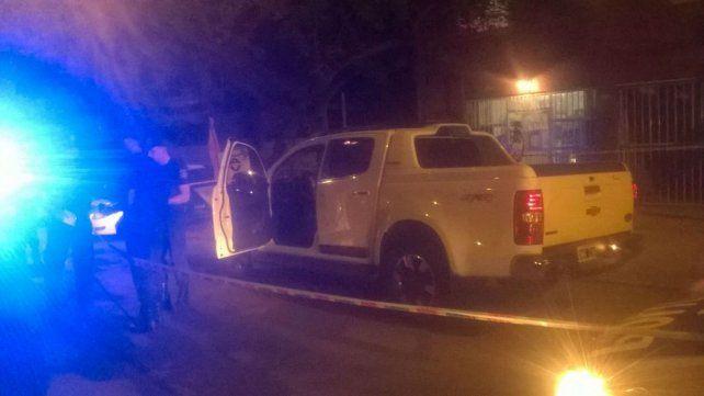 La camioneta de DAmico baleada anoche.
