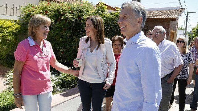 Macri y Vidal durante el Timbreo en Suipacha