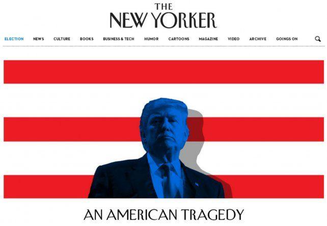 División. Portada de The New Yorker tras la victoria del magnate inmobiliario: Una tragedia americana.