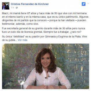 cristina salio a defender a su madre de las acusaciones y apunto contra macri
