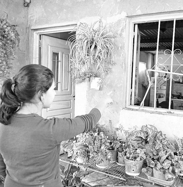 rota. Una nieta de Berna muestra las rejas de la ventana forzadas por el ladrón.