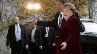 Sintonía fina. El mandatario estadounidense mantuvo un encuentro con Merkel