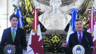 En la Rosada. Macri agradeció el gesto de apoyo de Justin Trudeau.