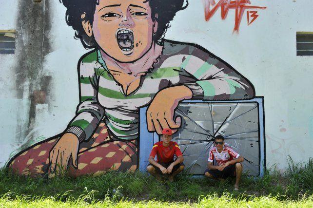 Uno de los murales de barrio Alvear