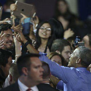 Ultima parada. Obama saluda a una entusiasta audiencia en Lima.