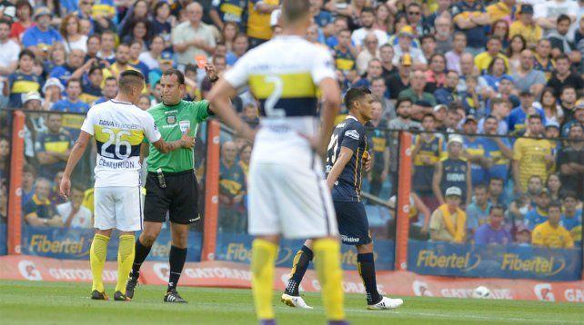 Teo Gutiérrez fue expulsado por sus gestos durante el festejo de su gol ante Boca.