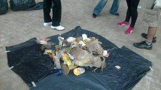 Muestra. La cantidad de envases descartables fue abrumadora