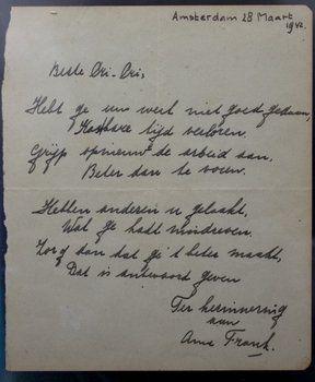 Documento.La página manuscrita de la adolescente judía que murió en un campo de concentración nazi fue subastada ayer.