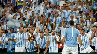 El festejo de Del Potro en el cierre se contagió en las tribunas del estadio de Zagreb.