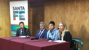 El ministro de Seguridad, Maximiliano Pullaro, el fiscal regional Jorge Baclini y la concejal María Eugenia Schmuck en la presentación de hoy.