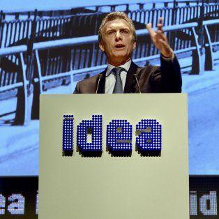 Tribuna. Macri, en el foro de Idea, habló de la necesidad de un pacto entre empresarios y trabajares.