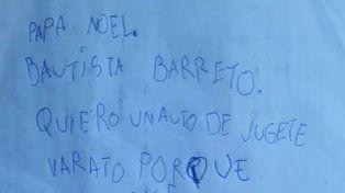 La tierna y emotiva carta que le escribió un nene a Papá Noel