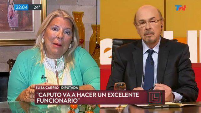 Carrió elogió las designaciones de Luis Caputo y Nicolás Dujovne en Economía