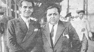 García Lorca en la estación Sunchales junto al periodista porteño Pablo Suero