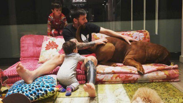 Messi junto a sus hijos y mascotas.