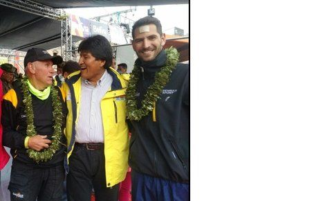 Con Evo. Facu y el presidente de Bolivia.