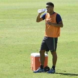Tranquilo. El colombiano ayer participó de la práctica de fútbol que dispuso el DT.