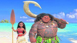 Dos valientes. Moana junto al semidiós Maui