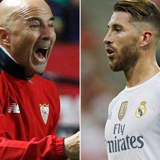 Sampaoli, el DT de Sevilla, y Ramos, el capitán y líder de Real Madrid.